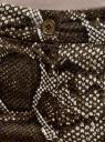Брюки зауженные с питоновым принтом oodji для женщины (зеленый), 11706201M/33482/6639A