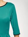 Платье трикотажное со складками на юбке oodji #SECTION_NAME# (зеленый), 14001148-1/33735/6D00N - вид 5