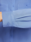 Блузка базовая из вискозы с карманами oodji #SECTION_NAME# (синий), 11400355-4/26346/7501N - вид 5