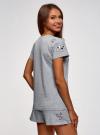 Пижама хлопковая с принтом oodji для женщины (серый), 56002201-6/46154/2000Z - вид 3