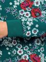Свитшот принтованный из хлопка oodji для женщины (бирюзовый), 14801045-8/48015/734CF