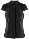 Рубашка с коротким рукавом из хлопка oodji #SECTION_NAME# (черный), 11403196-3/26357/2900N