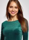 Платье бархатное с V-образным вырезом сзади oodji #SECTION_NAME# (зеленый), 14000165-4/48621/6E00N - вид 4