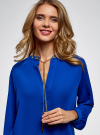 Блузка из струящейся ткани с металлическим украшением oodji #SECTION_NAME# (синий), 21414004/45906/7500N - вид 4