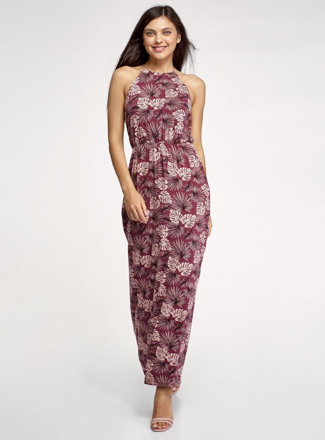 Платье макси из вискозы oodji для женщины (красный), 14006069/49253/314AO