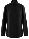 Блузка с нагрудными карманами и регулировкой длины рукава oodji #SECTION_NAME# (черный), 11400355-8B/48458/2900N
