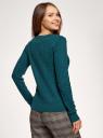 Джемпер фактурной вязки в мелкую косичку oodji для женщины (зеленый), 73812624-2B/49296/6E01N