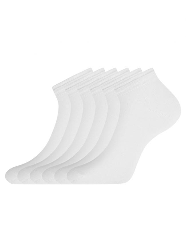 Комплект носков с двойной резинкой (6 пар) oodji для женщины (белый), 57102703T6/47469/21