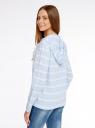 Блуза льняная с капюшоном oodji для женщины (синий), 21400350-1/35534/7510S