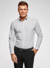Рубашка хлопковая с контрастной отделкой воротника oodji #SECTION_NAME# (белый), 3B110031M/44425N/1079D - вид 2