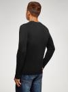 Пуловер базовый с V-образным вырезом oodji #SECTION_NAME# (черный), 4B212007M/39796N/2900N - вид 3