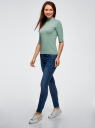 Водолазка трикотажная с рукавом до локтя oodji для женщины (зеленый), 15E01002-2/46464/6C00N