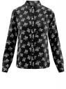 Блузка принтованная из шифона oodji #SECTION_NAME# (черный), 11400394-5/36215/2912F