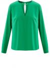 Блузка с вырезом-капелькой и металлическим декором oodji #SECTION_NAME# (зеленый), 21400396/38580/6D00N
