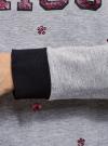 Свитшот хлопковый с пайетками oodji #SECTION_NAME# (серый), 14808015-35/46151/204DZ - вид 5
