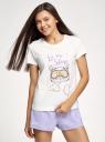 Пижама хлопковая с принтом oodji #SECTION_NAME# (белый), 56002239-1/46154/1280P - вид 2
