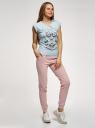 Брюки спортивные на завязках oodji для женщины (розовый), 16701078/50008/4000N