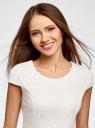 Платье трикотажное кружевное oodji #SECTION_NAME# (белый), 14001154-2/42644/1200N - вид 4