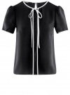 Блузка с коротким рукавом и контрастной отделкой oodji #SECTION_NAME# (черный), 11401254/42405/2900N