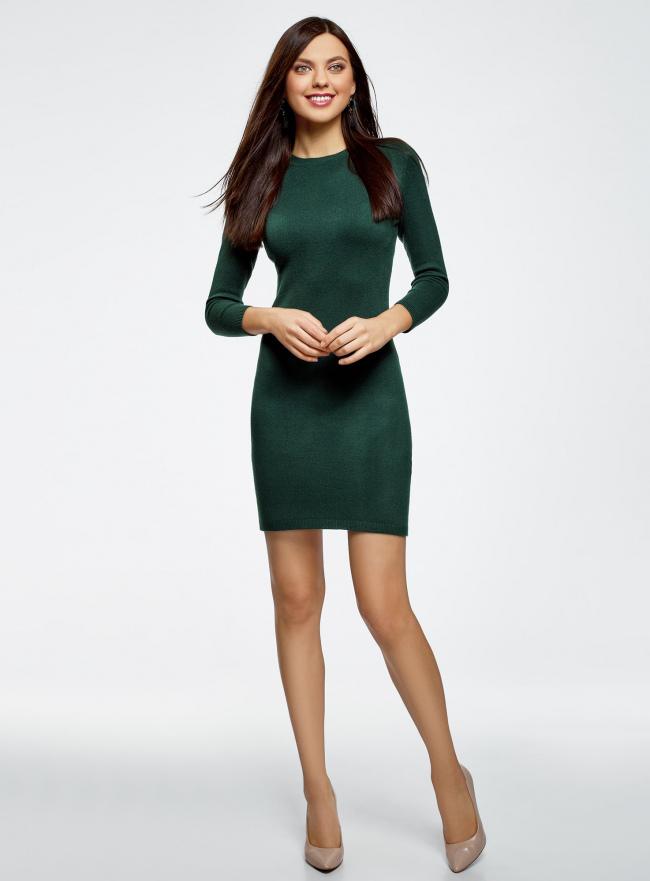 Платье базовое с рукавом 3/4 oodji #SECTION_NAME# (зеленый), 63912222B/46244/6900N