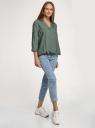 Блузка вискозная с рукавом-трансформером 3/4 oodji для женщины (зеленый), 11403189-3B/26346/6900N