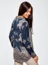Блузка из струящейся ткани с принтом oodji #SECTION_NAME# (синий), 21411144-3/35542/7935E - вид 3