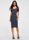 Платье трикотажное на тонких бретелях oodji #SECTION_NAME# (синий), 14015007-1B/45450/7912S - вид 2