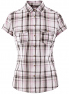 Рубашка клетчатая с коротким рукавом oodji #SECTION_NAME# (розовый), 11402084-4/35293/1041C