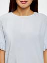 Блузка вискозная свободного силуэта oodji #SECTION_NAME# (синий), 11405138/46436/7001N - вид 4