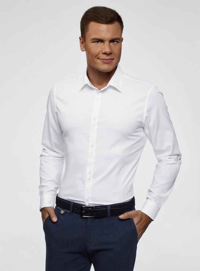 Рубашка базовая из фактурной ткани oodji #SECTION_NAME# (белый), 3B110020M-1/48379N/1000N