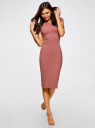 Платье миди с вырезом на спине oodji #SECTION_NAME# (розовый), 24001104-5B/47420/4B01N - вид 2