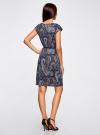 Платье трикотажное с ремнем oodji #SECTION_NAME# (синий), 24008033-2/16300/7933E - вид 3
