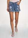 Шорты джинсовые с нашивками и потертостями oodji #SECTION_NAME# (синий), 12807093/45254/7500W - вид 2