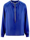 Блузка из струящейся ткани с металлическим украшением oodji #SECTION_NAME# (синий), 21414004/45906/7500N
