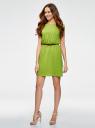 Платье вискозное без рукавов oodji #SECTION_NAME# (зеленый), 11910073B/26346/6B00N - вид 6