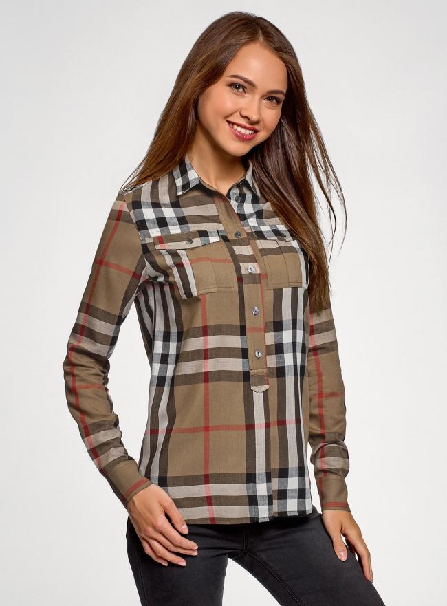Рубашка вискозная в клетку oodji для женщины (коричневый), 11411114/45776/3733C