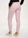 Брюки на завязках из футера с начесом oodji для женщины (розовый), 16700030-25B/19014N/4B00N