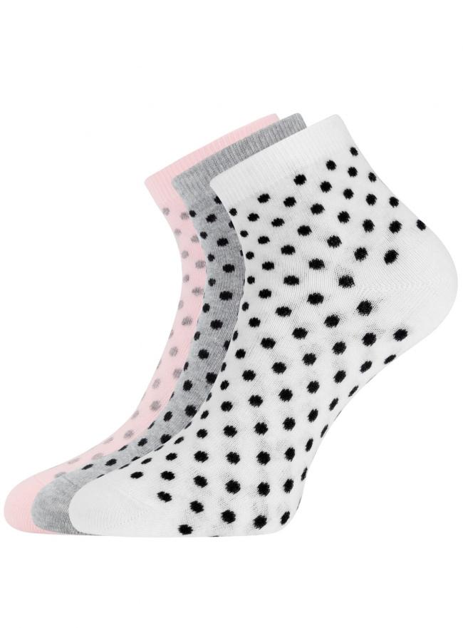 Комплект из трех пар укороченных носков oodji для женщины (разноцветный), 57102418T3/47469/19D8D