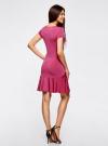 Платье трикотажное с воланами oodji #SECTION_NAME# (розовый), 14011017/46384/4700N - вид 3