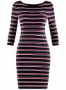 Платье трикотажное в полоску oodji #SECTION_NAME# (синий), 14001071-10/46148/7945S