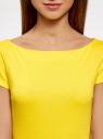 Платье трикотажное с вырезом-лодочкой oodji #SECTION_NAME# (желтый), 14001117-2B/16564/5100N - вид 4