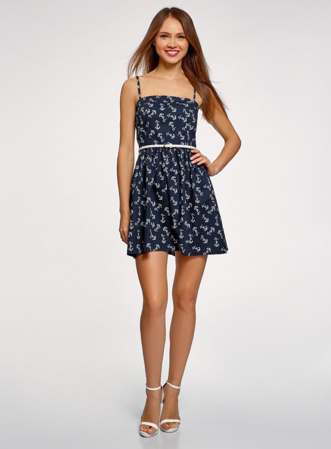 Платье-бандо из хлопка oodji для женщины (синий), 11902101-6B/14885/7912O