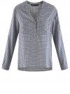Блузка принтованная из вискозы oodji #SECTION_NAME# (белый), 11411049-1/24681/1075G