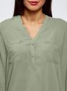Блузка принтованная из вискозы oodji #SECTION_NAME# (зеленый), 11411049-1/24681/6000N - вид 4