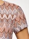 Футболка из фактурной ткани с этническим узором oodji для женщины (бежевый), 14701067/45509/3302E