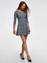 Платье из плотной ткани с принтом oodji #SECTION_NAME# (синий), 14001150-4/33038/1079E - вид 6