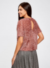 Блузка ворсистая с вырезом-капелькой на спине oodji #SECTION_NAME# (розовый), 14701049/46105/4A00N - вид 3