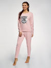 Пижама хлопковая с брюками oodji #SECTION_NAME# (розовый), 56002224/46154/4023P - вид 6