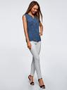 Блузка с короткими рукавами и нагрудными карманами oodji #SECTION_NAME# (синий), 21412132-2B/24681/7910G - вид 6