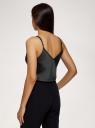 Топ на бретелях из струящейся ткани oodji для женщины (черный), 14901426/50157/2900N